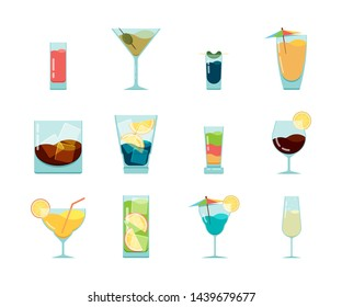 Cocktails flat icon. Alcoholic summer party drinks in glasses cuba libre cosmopolitan vodka mojito vector icon collection isolated on white
