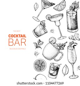 Cocktails hand drawn vector illustration. Alcoholic cocktails sketch set. Engraved style. Design template for bar. Margarita, bloody mary, moscow mule, bellini, cosmopolitan, old fashioned.