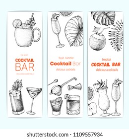 Cocktails hand drawn vector illustration. Alcoholic cocktails sketch set. Vertical banner collection. Design template for bar. Moscow mule, bloody mary, manhattan, bellini, sazerac, pina colada