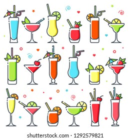 Cocktails icon set. Different types of alcohol cocktails. Suitable for advertising, bar menu decor, application design