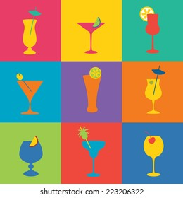 Cocktails icon set in flat design style. Simple icons of drinks