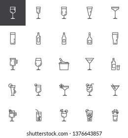 Cocktails line icons set. linear style symbols collection, outline signs pack. vector graphics. Set includes icons as alcoholic drinks, ice tea glass, beverage, wine bottle, hot shot, mojito drink