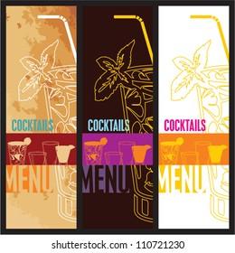 Cocktails Menu Card Design template. Menu template for restaurant, cafe and bar vector design set.