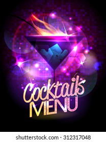Cocktails menu vector design with burning cocktail against disco sparkles