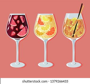 cocktails sangria and aperol spritz aperetif set vector illustration