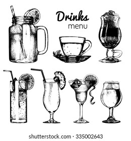Cocktails, soft drinks and glasses for bar, restaurant, cafe menu. Hand drawn different beverages vector illustrations set: lemonade, coffee, tea, mojito, margarita, beer, pina colada.