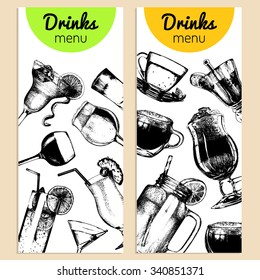 Cocktails, soft drinks and glasses for bar, restaurant, cafe menu. Hand drawn different beverages vector illustrations set: lemonade, coffee, tea, mojito, vodcatini, beer, shot etc.
