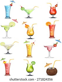 cocktails soft and long-drinks ind front of white background . vector