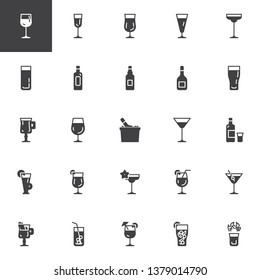 Cocktails vector icons set, modern solid symbol collection, filled style pictogram pack. Signs, logo illustration. Set includes icons as alcoholic drinks glass, beverages, wine bottle, mojito drink