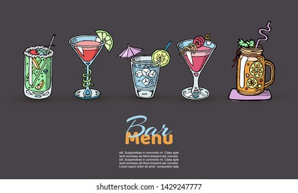 Cocktails vector set for menu design, bars, restaurants, cafes, parties. Colored sketch of Alcoholic coctail beverages. Long island, Margarita, Mojito, Daiquiri, Pina colada, B-25 coctailed drinks.