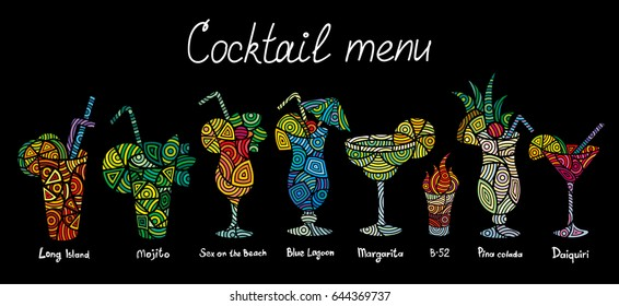 Cocktails vector set for menu design, bars, restaurants, cafes, parties. Alcoholic beverages. Long island, Margarita, Mojito, sex on the beach, Blue lagoon, Daiquiri, Pina colada, B-25.