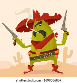 Cocky character cactus cowboy with revolvers in the desert in the Wild West. Children s illustration. Vector