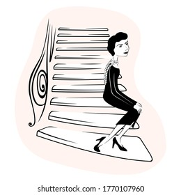Coco Chanel on the stairs of a fashion house at 31 rue cambon. hand drawn style black and white. vector