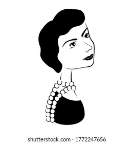 Coco Chanel portrait. Black and white hand-drawn style. vector