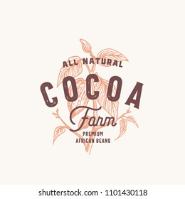 Cocoa Bean Farm Abstract Vector Sign, Symbol or Logo Template. Hand Drawn Cacao Bean Branch with Premium Vintage Typography and Quality Seal. Stylish Classy Vector Emblem Concept. Isolated.