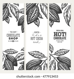 Cocoa bean tree banner collection. Design templates. Engraved style illustration. Chocolate cocoa beans. Vector illustration