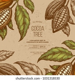 Cocoa bean tree frame design template. Engraved style illustration. Chocolate cocoa beans. Vector illustration