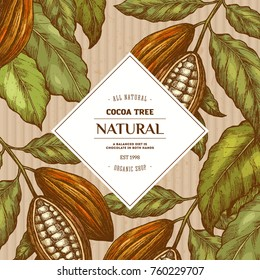 Cocoa bean tree round design template. Engraved style illustration. Chocolate cocoa beans. Vector illustration