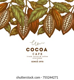 Cocoa bean tree vintage design template. Engraved style illustration. Chocolate cocoa beans. Vector illustration