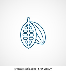 Cocoa Beans Blue Line Icon On White Background