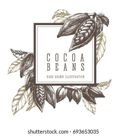 Cocoa beans and branch. Square frame template sketch illustration. Vector design elements hand drawn artwork.