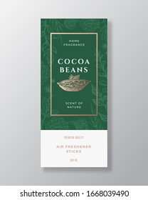 Cocoa Beans Home Fragrance Abstract Vector Label Template. Hand Drawn Sketch Flowers, Leaves Background and Retro Typography. Premium Room Perfume Packaging Design Layout. Realistic Mockup. Isolated.