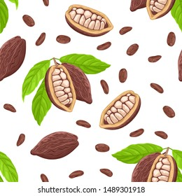 Cocoa beans seamless pattern on a white background. Vector illustration of cacao beans and green leaves in cartoon simple flat style.