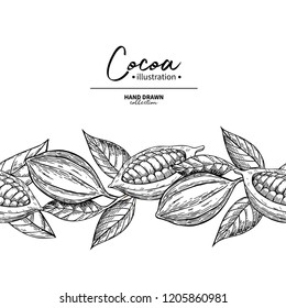 Cocoa border. Vector superfood drawing template.  Fruit, leaf and bean seamless pattern. Organic food sketch. Hand drawn chocolate packaging, cacao banner, poster, label. Isolated illustration