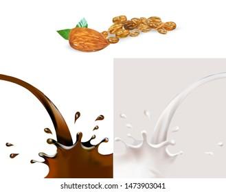 cocoa or caramel, almonds, raisins and milk set splashes vector 3d realistic illustration