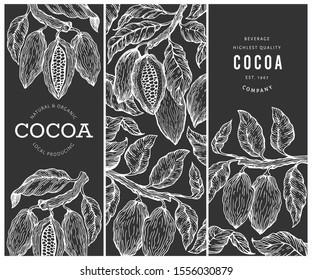 Cocoa design template. Chocolate cocoa beans background. Vector hand drawn illustration on chalk board. Retro style illustration.