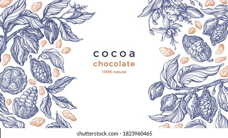 Cocoa frame. Vector nature graphic background. Art hand drawn botanical tree, bean, tropical fruit, foliage. Organic sweet food, aroma drink, natural chocolate. Vintage pattern