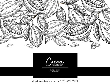 Cocoa frame. Vector superfood drawing template.  Fruit, leaf and bean engraving. Organic healthy food sketch. Hand drawn chocolate packaging, cacao banner, poster, label Isolated illustration on white