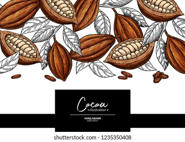 Cocoa frame. Vector superfood drawing template.  Fruit, leaf and bean engraving. Organic healthy food sketch. Hand drawn chocolate packaging, cacao banner, poster, label. Isolated illustration on whit