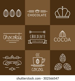 Cocoa Icon, logo, signs and badges chocolate