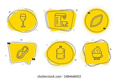 Cocoa nut, Peanut and Cappuccino cream signs. Chat bubbles. Coffee machine, Wine glass and Cooler bottle line icons set. Cappuccino machine, Bordeaux glass, Water drink. Vegetarian food. Vector