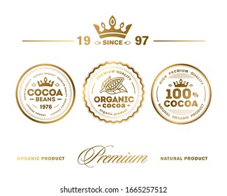 Cocoa Premium Quality Stamp. Vector icon set. High premium quality organic product.