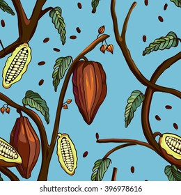 Cocoa tree pattern. Seamless background of cocoa tree with beans and leafs.Tropical print. Vector illustration