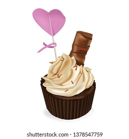 Cocolate cupcake  and pink heart. Holiday. Sweet dessert. Cake, cupcake. 3d realistic vector