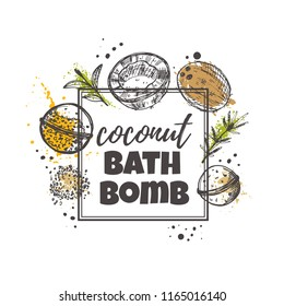 Coconut bath bomb concept design. Hand drawn vector illustration. Can be used for organic shop, heathcare, spa, aromatherapy, handmade cosmetic, logo, sticker, label, gift, icon.