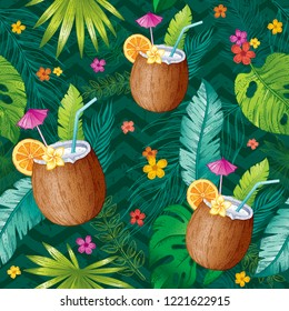 Coconut cocktail seamless pattern. Tropical coco fruit textile print for apparel. Hand drawn sketch texture. Realistic color drink with tropical palm leaves. Vector illustration isolated background