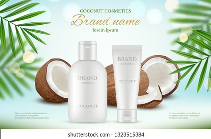 Coconut cosmetic. Advertizing poster with cream tubes and fresh coco and natural body milk splashes vector realistic