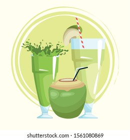 coconut drink and green juices over white background, colorful design , vector illustration