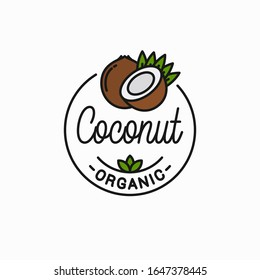 Coconut fruit logo. Round linear logo of coconut slice on white background