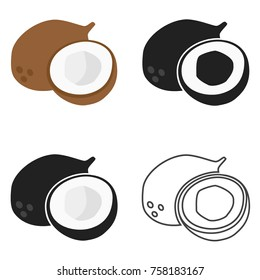 Coconut icon in four variants. Vector.