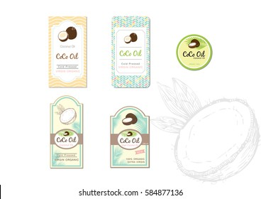 Coconut label.Packing concept for coconut oil. Vector design with coconut illustration