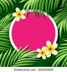 Coconut leaves and frangipani flowers with place for text