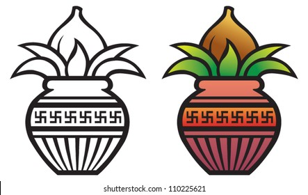 Coconut with leaves and pot