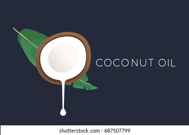 Coconut logo. Half of the coconut with flowing milk and a palm leaf. flat illustration