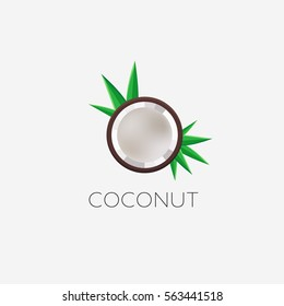 Coconut logo. Half isolated coco icon, vector illustration. Top view.