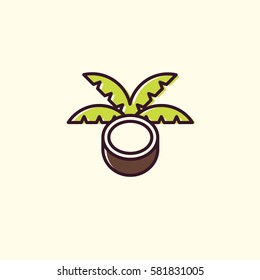 Coconut logo in linear and flat style. Organic superfoods for health and diet. Detox and weightloss supplements.